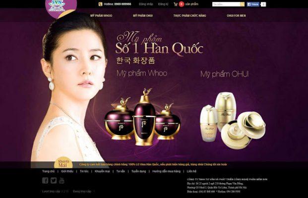 thiết kế website mỹ phẩm đẹp
