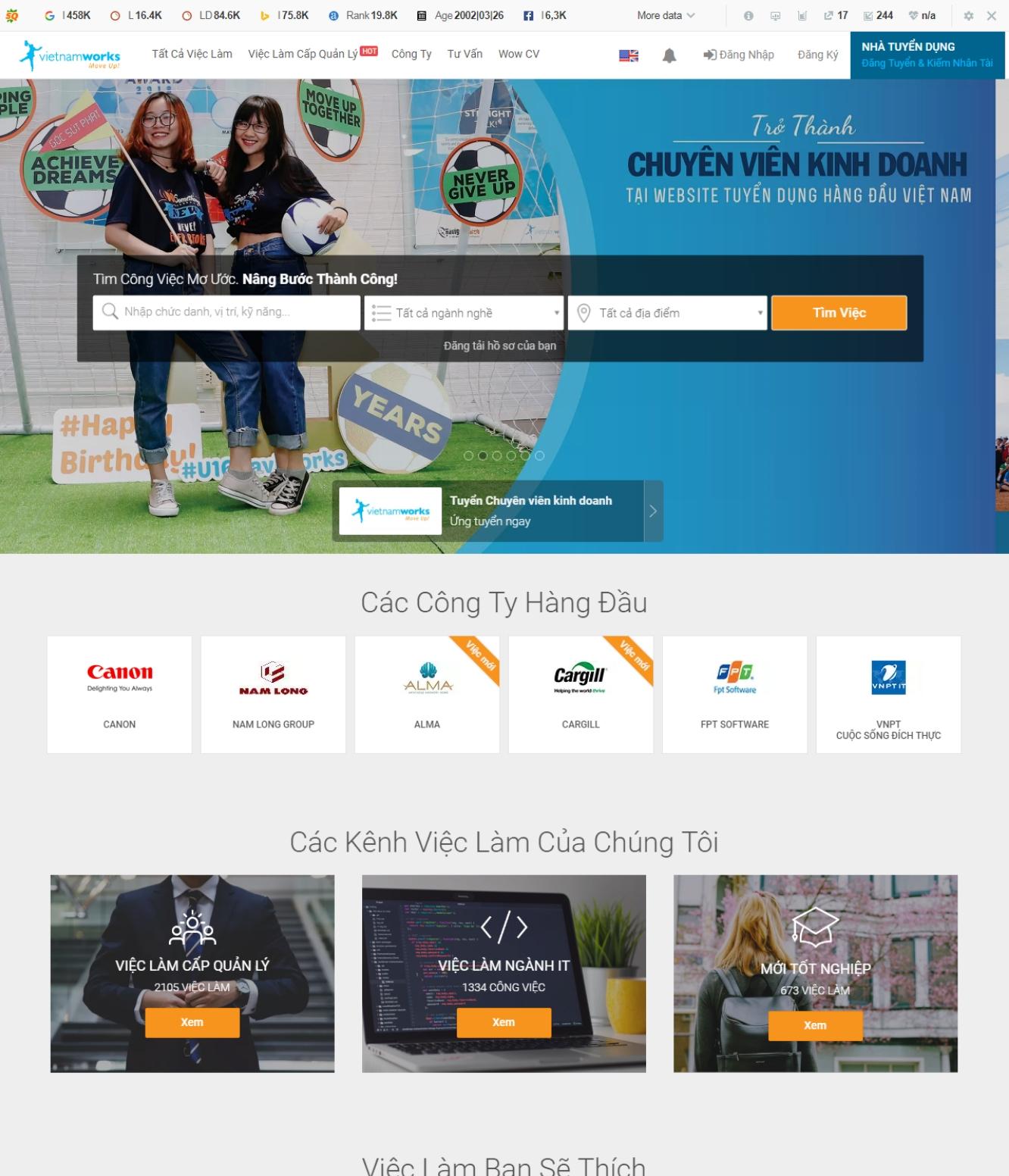 vietnamworks.com  - Thiết Kế Website